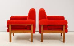 Erberto Carboni Pair of Oak Upholstered Armchairs by Erberto Carboni - 1812928