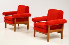 Erberto Carboni Pair of Oak Upholstered Armchairs by Erberto Carboni - 1812929