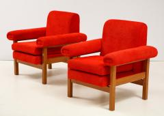 Erberto Carboni Pair of Oak Upholstered Armchairs by Erberto Carboni - 1812930