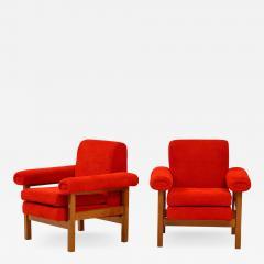 Erberto Carboni Pair of Oak Upholstered Armchairs by Erberto Carboni - 1813685