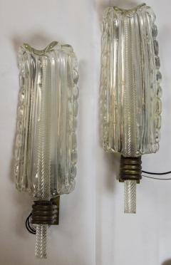 Ercole Barovier Art Deco Barovier Iridescent Leaf Wall lights 1930ca - 1251143