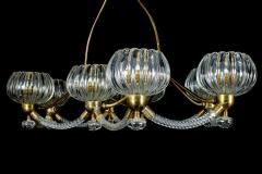Ercole Barovier Art Deco Brass Mounted Murano Glass Chandelier by Ercole Barovier 1940 - 1445813
