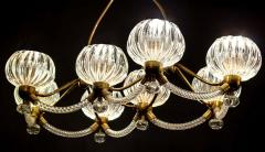 Ercole Barovier Art Deco Brass Mounted Murano Glass Chandelier by Ercole Barovier 1940 - 1445814