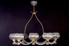 Ercole Barovier Art Deco Brass Mounted Murano Glass Chandelier by Ercole Barovier 1940 - 1445817