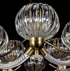 Ercole Barovier Art Deco Brass Mounted Murano Glass Chandelier by Ercole Barovier 1940 - 1445820