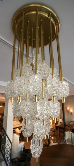 Ercole Barovier Barovier Diamant Brass and Textured Murano Glass Chandelier - 1498933