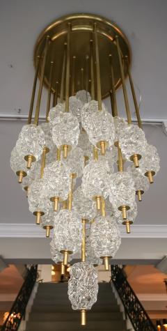 Ercole Barovier Barovier Diamant Brass and Textured Murano Glass Chandelier - 1498940