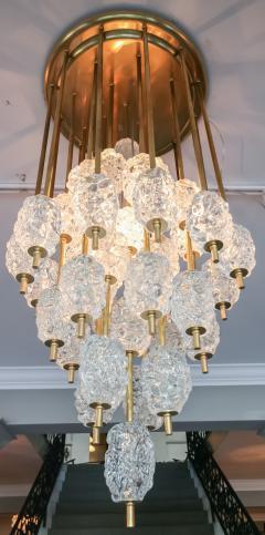 Ercole Barovier Barovier Diamant Brass and Textured Murano Glass Chandelier - 1498941