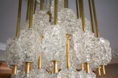 Ercole Barovier Barovier Diamant Brass and Textured Murano Glass Chandelier - 1498942