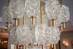Ercole Barovier Barovier Diamant Brass and Textured Murano Glass Chandelier - 1498943
