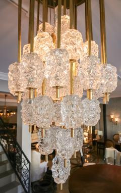 Ercole Barovier Barovier Diamant Brass and Textured Murano Glass Chandelier - 1498944