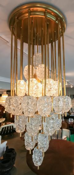 Ercole Barovier Barovier Diamant Brass and Textured Murano Glass Chandelier - 1498946