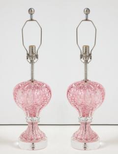 Ercole Barovier Barovier Pink Diamond Murano Glass Lamps - 1108884