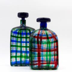 Ercole Barovier Barovier for Christian Dior Paris Tartan Murano Glass Bottle with Stopper - 831968