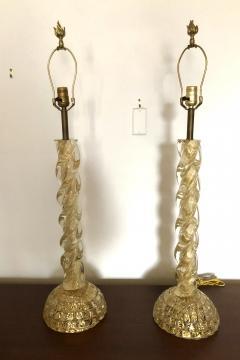 Ercole Barovier Ercole Barovier Pair Massive Murano Glass Table Lamps - 1939606