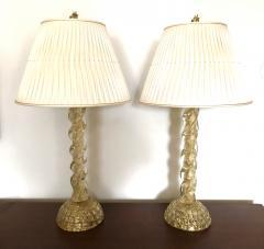 Ercole Barovier Ercole Barovier Pair Massive Murano Glass Table Lamps - 1939612