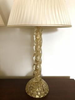 Ercole Barovier Ercole Barovier Pair Massive Murano Glass Table Lamps - 1939613