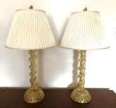 Ercole Barovier Ercole Barovier Pair Massive Murano Glass Table Lamps - 1939615