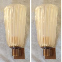 Ercole Barovier Mid Century Modern Ivory Murano Glass Sconces Barovier Style Italy 1970s Pair - 1701445