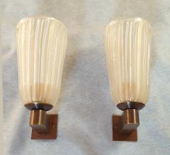 Ercole Barovier Mid Century Modern Ivory Murano Glass Sconces Barovier Style Italy 1970s Pair - 1701447