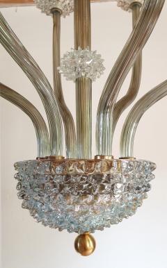 Ercole Barovier Mid Century Modern clear Khaki Green Murano glass chandelier by Barovier 1970s - 1545279