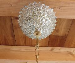 Ercole Barovier Mid Century Modern clear Khaki Green Murano glass chandelier by Barovier 1970s - 1545283