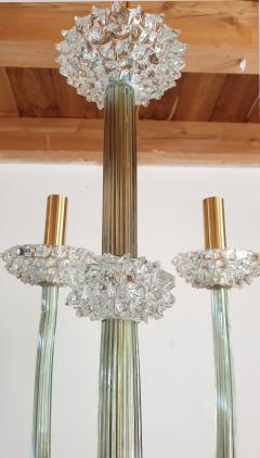 Ercole Barovier Mid Century Modern clear Khaki Green Murano glass chandelier by Barovier 1970s - 1545285