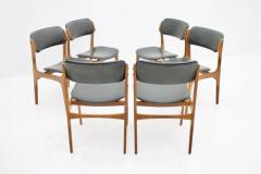Erik Buch Set Of Six Erik Buch Dining Chairs in Teak and Black Leather Denmark 1960s - 783302