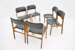 Erik Buch Set Of Six Erik Buch Dining Chairs in Teak and Black Leather Denmark 1960s - 783303