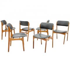 Erik Buch Set Of Six Erik Buch Dining Chairs in Teak and Black Leather Denmark 1960s - 783305
