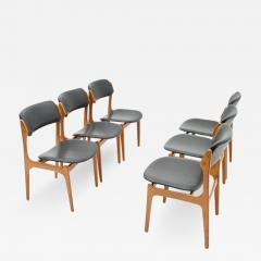 Erik Buch Set Of Six Erik Buch Dining Chairs in Teak and Black Leather Denmark 1960s - 784420