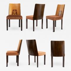 Erik Chambert ERIK CHAMBERT SET OF 6 SWEDISH ART DECO Marquetry SIDE CHAIRS - 794978