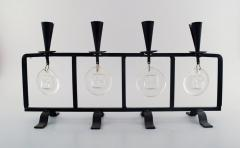 Erik H glund Candleholder in cast iron with mouth blown glasses - 1330116