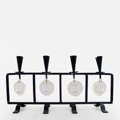 Erik H glund Candleholder in cast iron with mouth blown glasses - 1333612