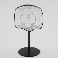 Erik H glund Glass face sculpture on iron stand by Erik Hoglund for Kosta Boda circa 1960s - 1075638