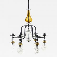 Erik H glund Swedish Hanging Candelabra Art Glass Chandelier Erik Hoglund - 98356