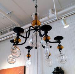 Erik H glund Swedish Hanging Candelabra Art Glass Chandelier Erik Hoglund - 98358