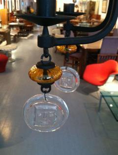 Erik H glund Swedish Hanging Candelabra Art Glass Chandelier Erik Hoglund - 98363