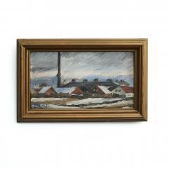Erik Hoppe ERIK HOPPE PAINTING OF A WINTER LANDSCAPE WITH HOUSES - 1992010