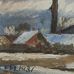 Erik Hoppe ERIK HOPPE PAINTING OF A WINTER LANDSCAPE WITH HOUSES - 1992011