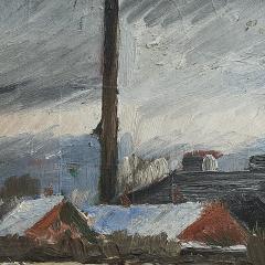 Erik Hoppe ERIK HOPPE PAINTING OF A WINTER LANDSCAPE WITH HOUSES - 1992012