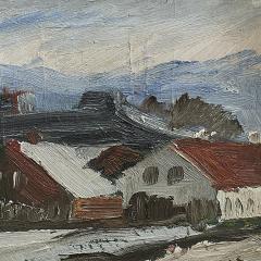 Erik Hoppe ERIK HOPPE PAINTING OF A WINTER LANDSCAPE WITH HOUSES - 1992013