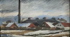 Erik Hoppe ERIK HOPPE PAINTING OF A WINTER LANDSCAPE WITH HOUSES - 1995137