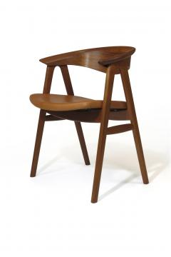 Erik Kirkegaard Erik Krikegaard Danish Teak Dining Chairs in Saddle Leather - 1308139