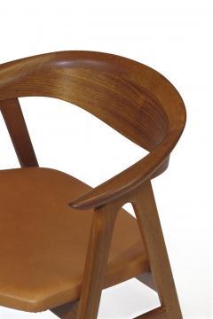 Erik Kirkegaard Erik Krikegaard Danish Teak Dining Chairs in Saddle Leather - 1308145