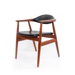 Erik Kirkegaard Set of 4 4 Black Vinyl and Teak Erik Kirkegaard Midcentury Side Chairs - 1438933