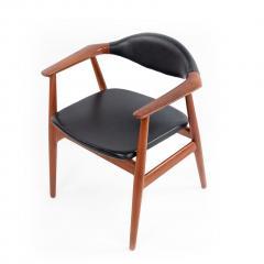 Erik Kirkegaard Set of 4 4 Black Vinyl and Teak Erik Kirkegaard Midcentury Side Chairs - 1438936