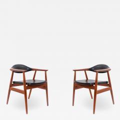 Erik Kirkegaard Set of 4 4 Black Vinyl and Teak Erik Kirkegaard Midcentury Side Chairs - 1444894
