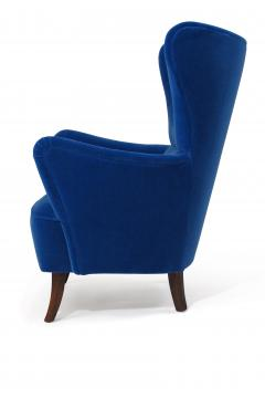 Erik W rts Erik Worts 1950s Highback Lounge Chair in Blue Mohair - 1519856