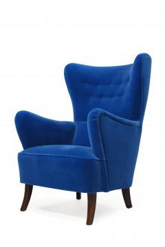 Erik W rts Erik Worts 1950s Highback Lounge Chair in Blue Mohair - 1519857